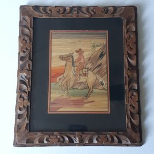 Vintage Straw Painting Wooden Carved Frame